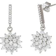 Lesa Michele Cubic Zirconia Sterling Silver Flower Earrings