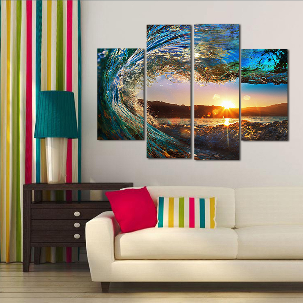 4 Panel Sea Wave Sunset Seascape Unframed Oil Painting for Modern Home Decor Wall Art