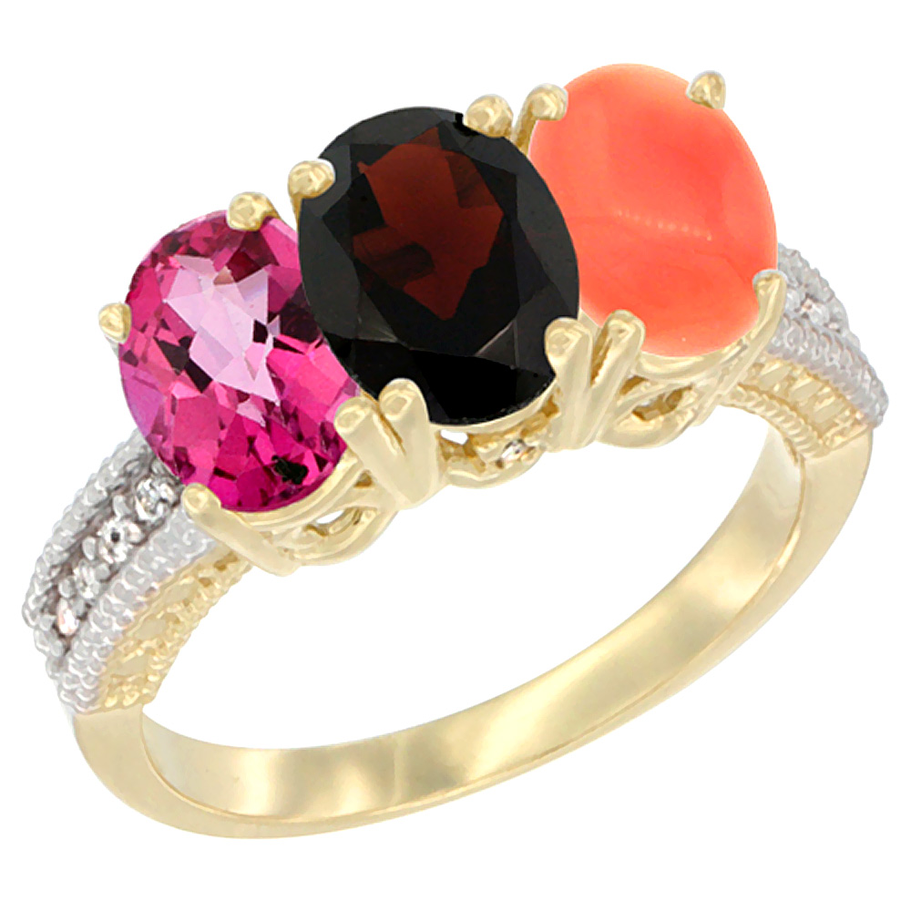 10K Yellow Gold Diamond Natural Pink Topaz, Garnet & Coral Ring 3-Stone Oval 7x5 mm, sizes 5 10 by WorldJewels