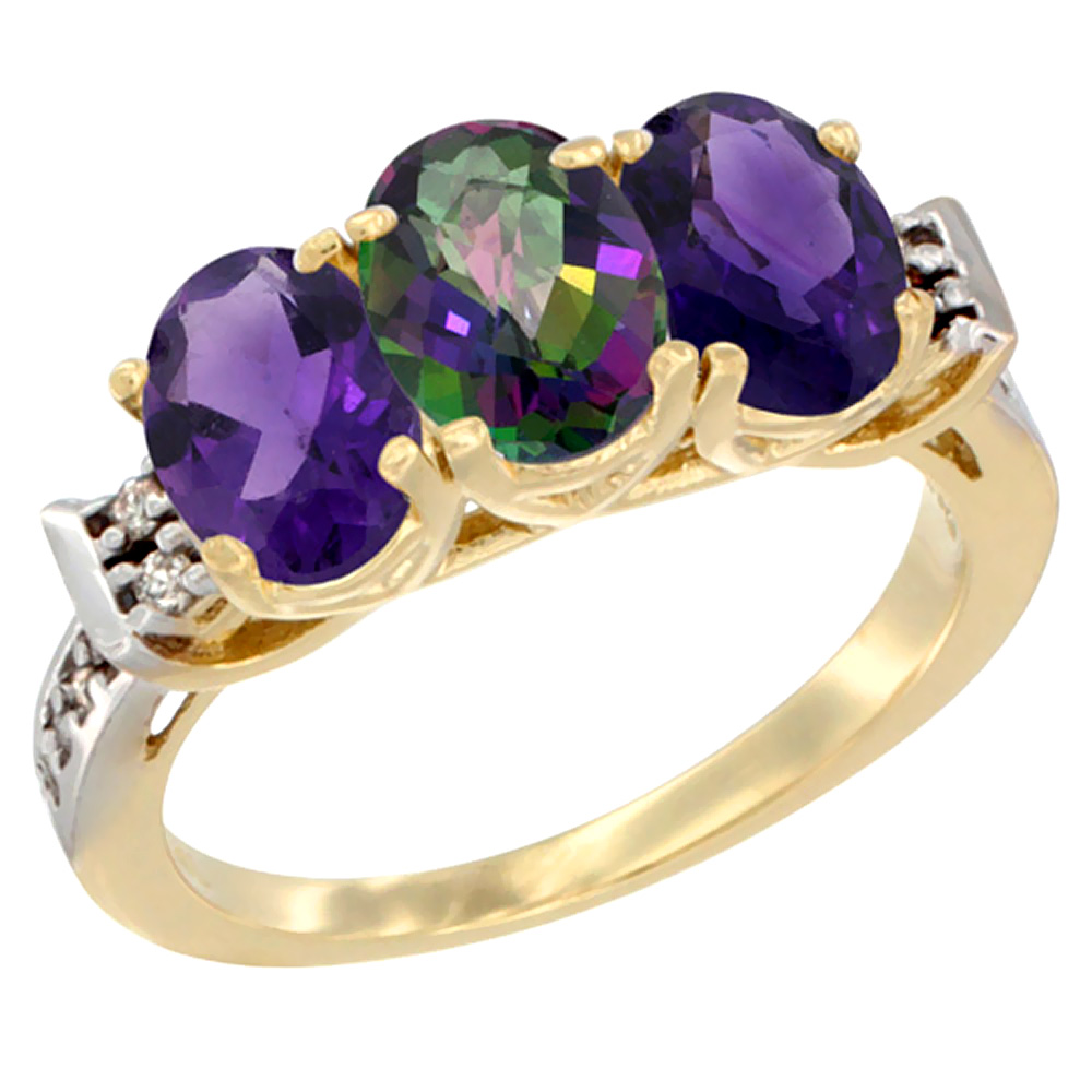 10K Yellow Gold Natural Mystic Topaz & Amethyst Sides Ring 3-Stone Oval 7x5 mm Diamond Accent, sizes 5 10 by WorldJewels