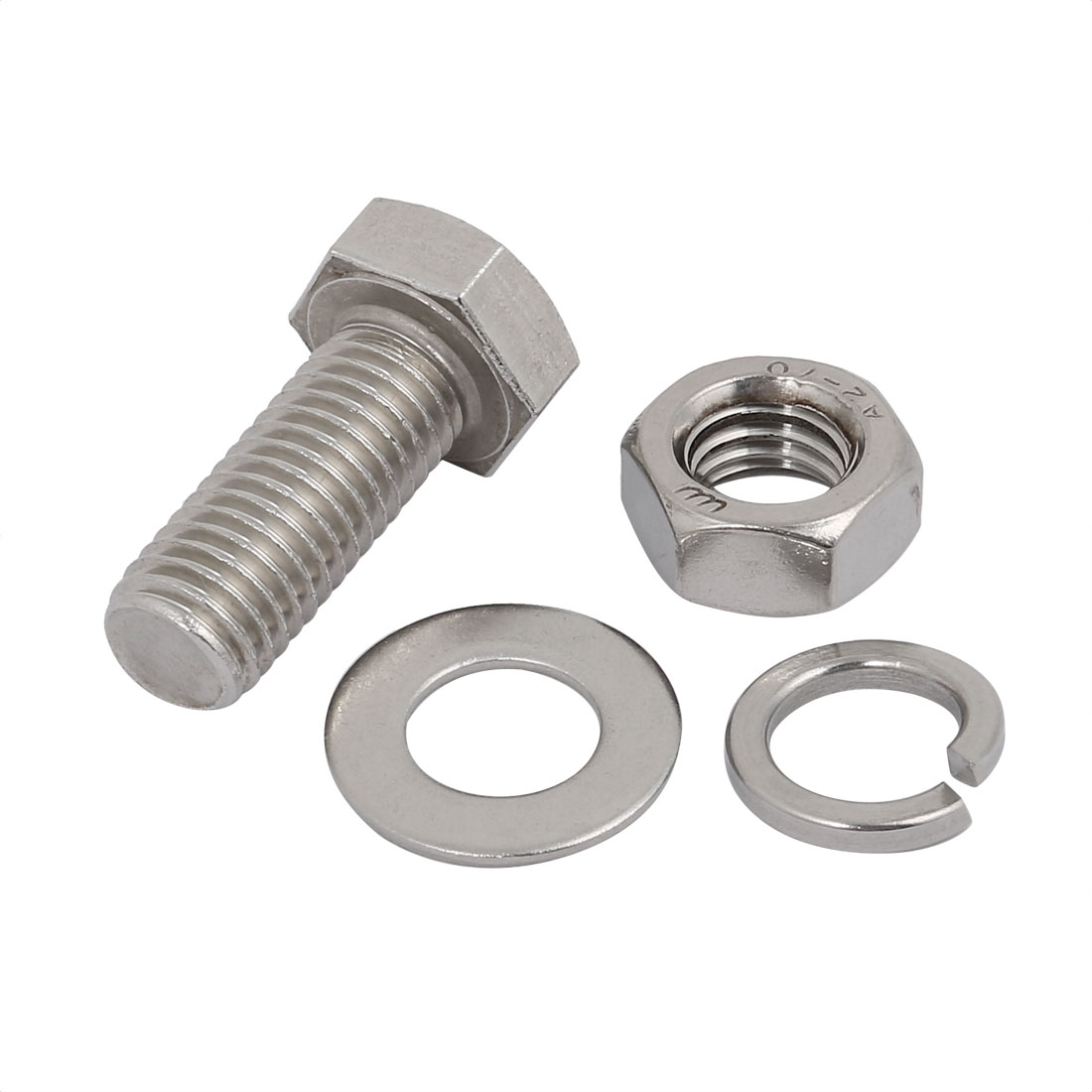 2 Set M14x35mm 304 Stainless Steel Hex Bolts w Nuts and Washers Assortment Kit - image 1 de 2