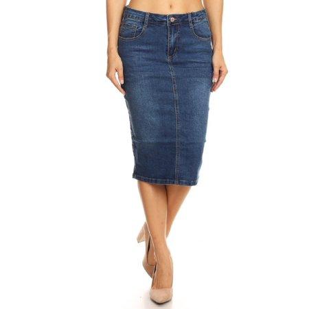 Womens Plus/Juniors Mid Waist Below Knee Length Denim Skirt in Pencil Silhouette](Mid Length Petticoat)