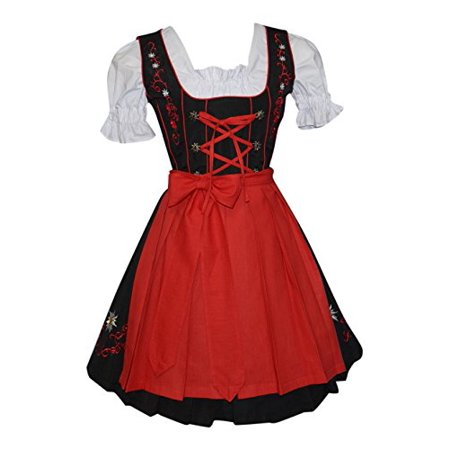 Oktober Fest Dress (3-piece Short German Oktoberfest Dirndl Dress Black &)