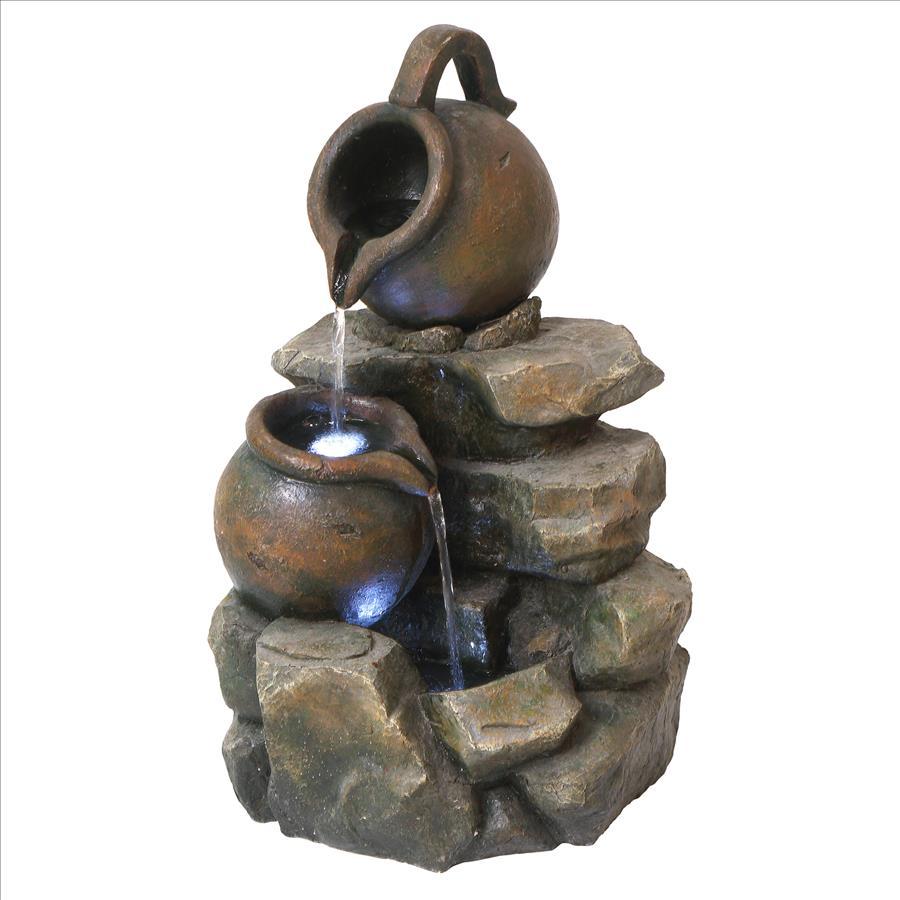 LaTaverna Cascading Urns Illuminated Garden Fountain by Design Toscano
