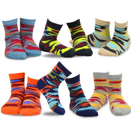 TeeHee Kids Boys Cotton Fashion Fun Crew Socks 6 Pair Pack (9-10 Years, Colorful Camo)