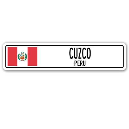 CUZCO, PERU Street Sign Peruvian flag city country road wall -