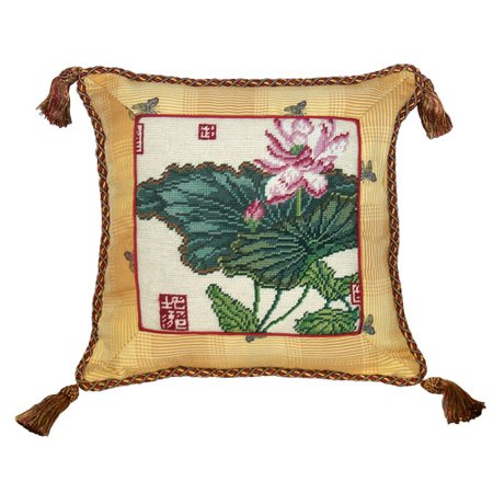 123 Creations Floral Lotus Needlepoint With Trimmed Wool Throw Pillow
