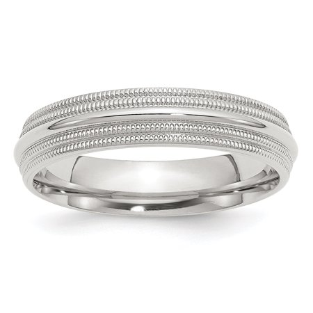 925 Sterling Silver 5mm Comfort Fit Double Milgrain Size 10 Wedding Ring Band Classic Gifts For Women For Her 925 Comfort Fit Wedding Band