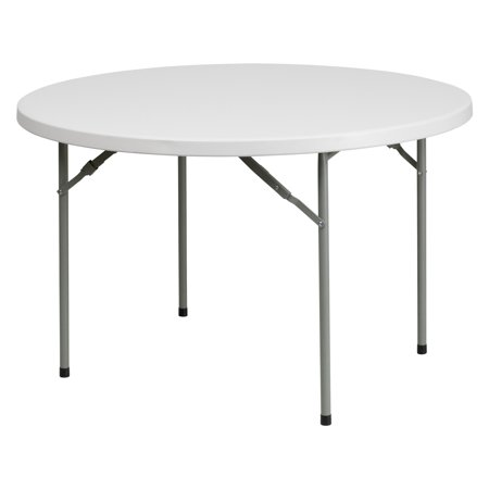 Flash Furniture 48 Round Granite White Plastic Folding Table