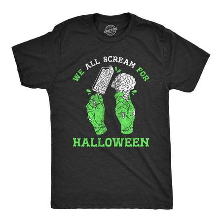 Black Halloween Punch Dry Ice (Mens We All Scream For Halloween Tshirt Funny Ice Cream Brains Zombie)