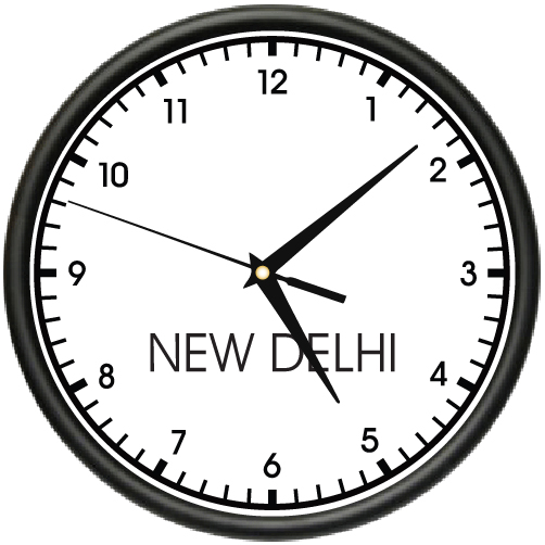 New DELHI TIME Wall Clock world time zone clock office business by SignMission