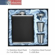 Stainless Steel 8 oz Hip Liquor Whiskey Alcohol Flask+Funnel Faux Leather Wrap Black