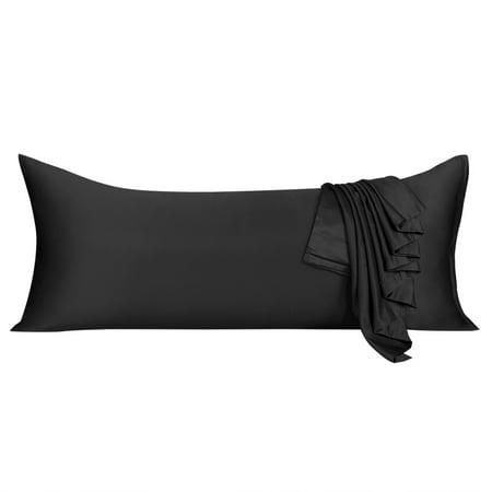 Zippered Black Silky Satin Body Pillow Case 21x60 Long