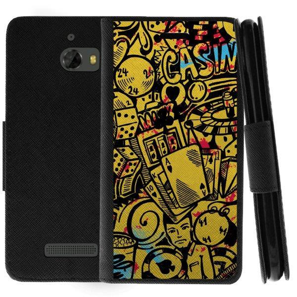 TurtleArmor ® | For Coolpad Defiant [Wallet Case] Leather Cover with Flip Kickstand and Card Slots - Casino Graffiti