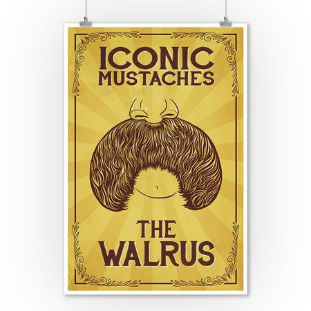 Iconic Mustaches - Walrus (9x12 Art Print, Wall Decor Travel Poster) - Mustache Decor