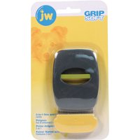 Jw-Dog/cat-Jw Grip Soft 2-in-1 Fine And Flea Combs- Gray/yellow