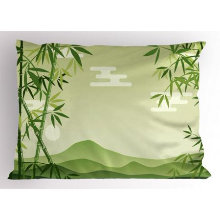 Green Leaf Pillow Sham Abstract Bamboo Trees in Japanese Forest Botanical Oriental Outdoors, Decorative Standard Size Printed Pillowcase, 26 X 20 Inches, Lime Green Pale Green, by