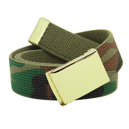 Men's Gold Military Flip Top Belt Buckle with Canvas Web Belt XXX-Large  Army Camo