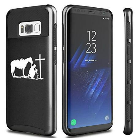 Cross Galaxy (For Samsung Galaxy Shockproof Impact Hard Soft Case Cover Cowboy Praying Cross Horse (Black For Samsung Galaxy)