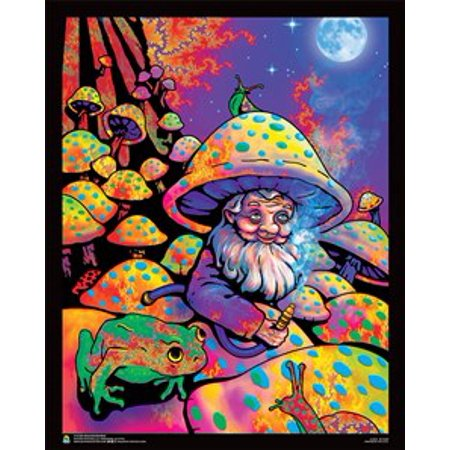 Mushroom Man Non-Flocked Mini Black Light Poster 16 x 20