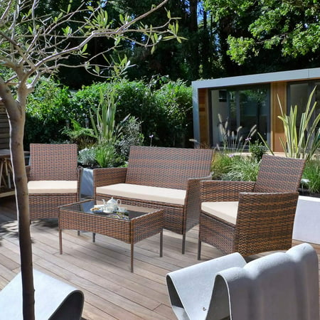 Walnew 4 PCS Outdoor Patio Furniture Brown PE Rattan Wicker Table and Chairs Set Bar Balcony Backyard Garden Porch Sets with Cushioned Tempered Glass (Beige) ()
