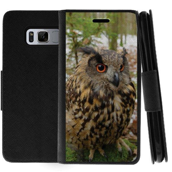 TurtleArmor ® | For Samsung Galaxy S8 Active G892 [Wallet Case] Leather Cover with Flip Kickstand and Card Slots - Sleepy Owl