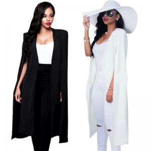 Womens Poncho Trench Cardigan Long Suit Blazer Cloak Cape Coat Ol