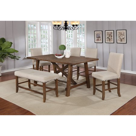Best Master Furniture Yosemite Honey Walnut 6 Pcs Dining Room Set