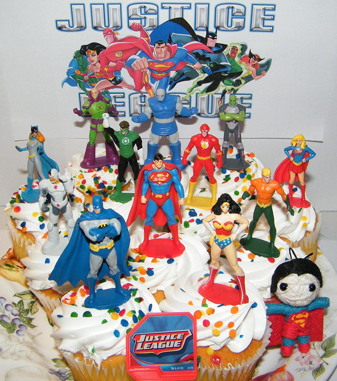 24 Justice League Super Hero Cupcake Ring Favor Rings Topper Birthday Batman DC