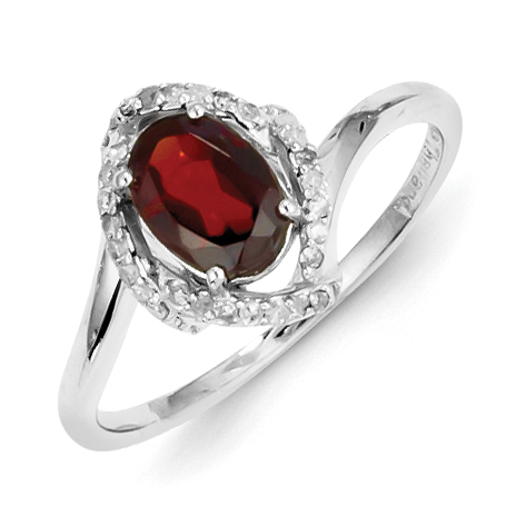 Roy Rose Jewelry Sterling Silver Diamond and Garnet Ring ~ Size 8 by