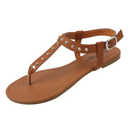 New Starbay Women's Studded Brown Gladiator Sandals Flats Size 5