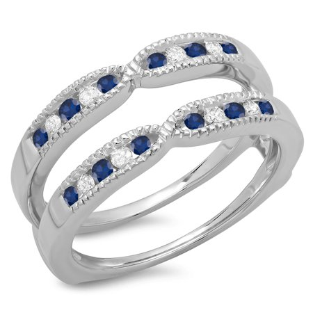 Cut Diamond Ring Band - 14K Gold Round Cut Blue Sapphire & White Diamond Ladies Millgrain Anniversary Wedding Band Guard Ring
