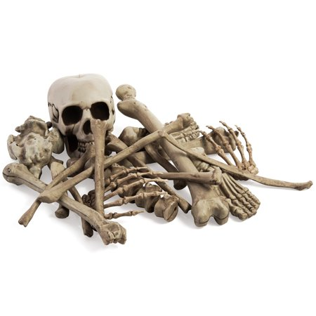 Spooky Halloween Clips (Bag of Skeleton Bones, Spookiest Halloween Decoration, Including Skull Total of 19 Skelton Bones, Haunted House Spooky Props, Indoor and Outdoor Decor, By 4E's)
