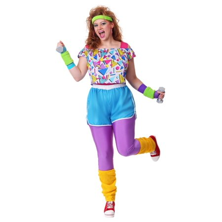 Women's Plus Size Work It Out 80's (80's Diva Plus Size Costume)
