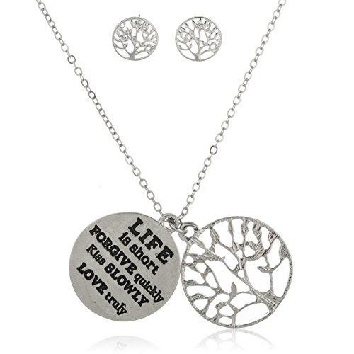 Silvertone Tree of Life with Inspirational Quote Pendant 18 Inch Link Necklace and Earrings Jewelry Set