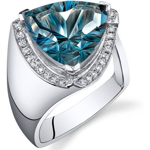Oravo 7.00 Carat London Blue Topaz Rhodium-Plated Sterling Silver Engagement Ring by Oravo