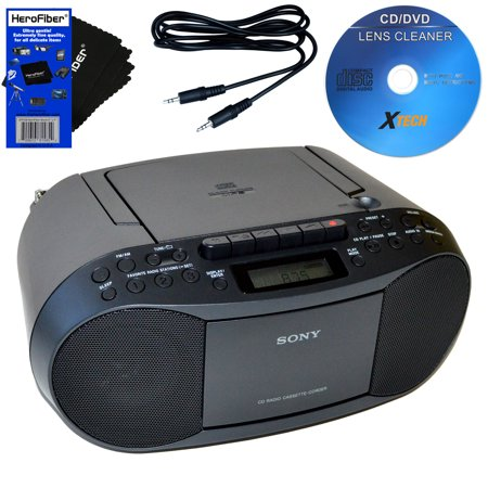 Sony Cd Radio Cassette Recorder Boombox Bundled With Ac Power Auxiliary Cable For Ipods  Iphones  Smartphones  Mp3 Players  Xtech Cd Lens Cleaner   Herofiber Ultra Gentle Cleaning Cloth