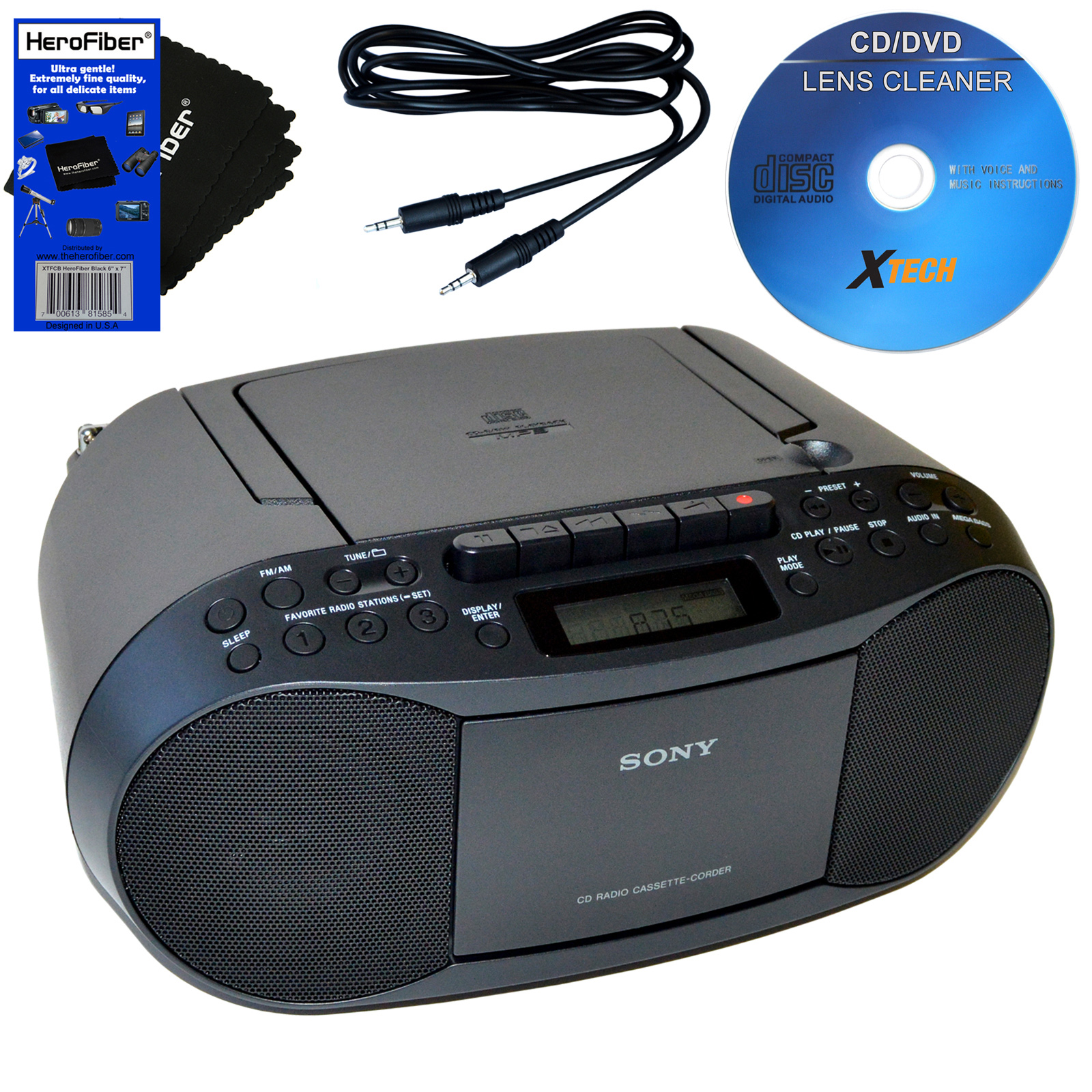 Sony CD Radio Cassette Recorder Boombox Bundled With AC Power Auxiliary Cable For IPods, IPhones, Smartphones, MP3 Players, Xtech CD Lens Cleaner & HeroFiber Ultra Gentle Cleaning Cloth
