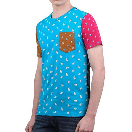 Men Color Block Paisleys Novelty Print T-Shirt Sea Blue L - image 3 of 7