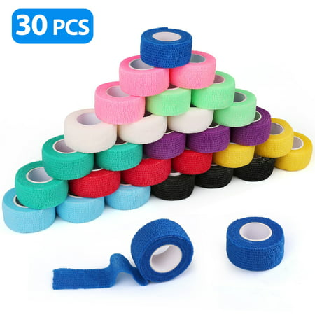 30 Packs Cohesive Bandage, Self Adherent Wrap, 1 Inch x 30 Rolls, First Aid Tape, Elastic Self Adhesive Tape, Medical Supplies, Assorted Colors Adhesive First Aid Tape