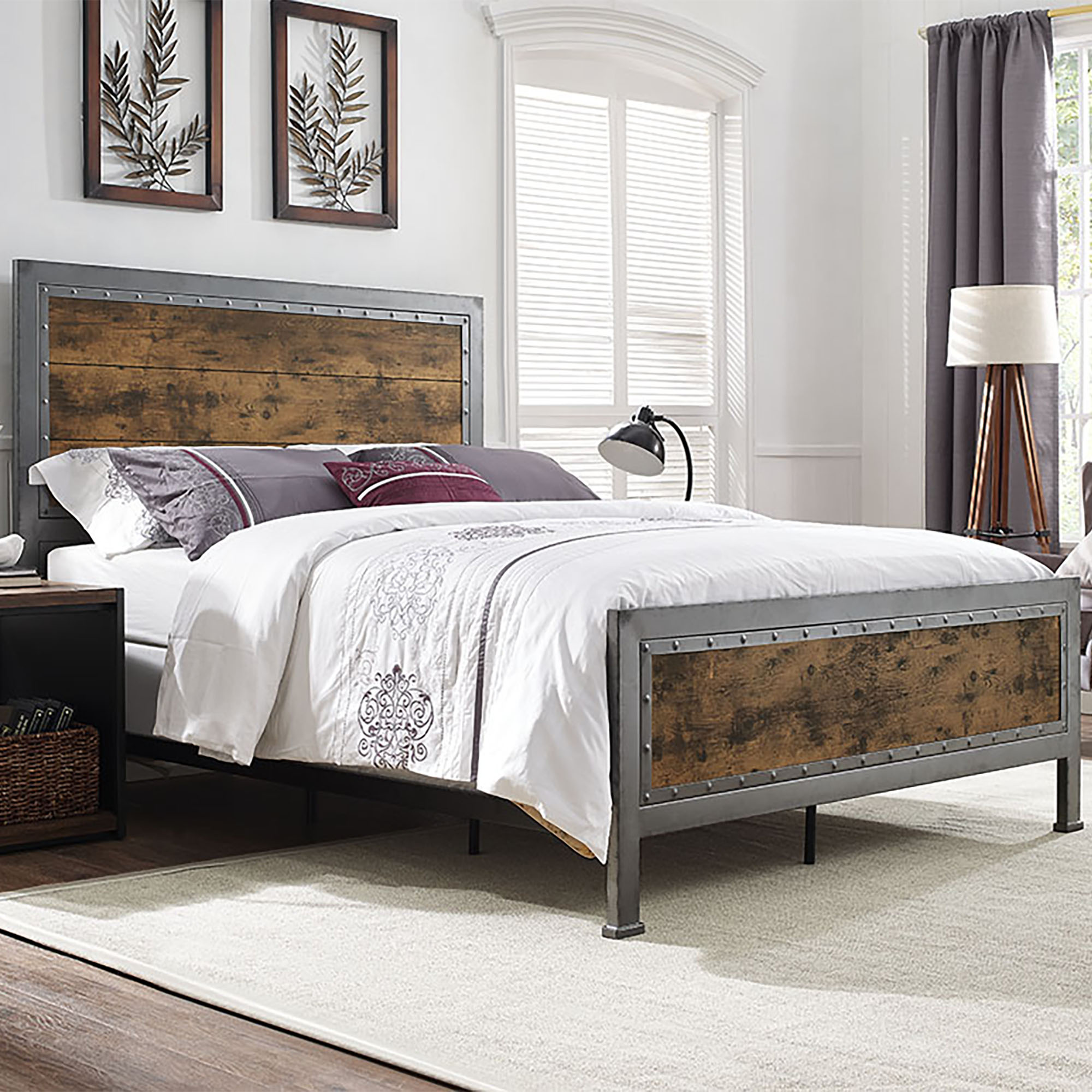 Manor Park Industrial Wood and Metal Queen Size Bed - Brown