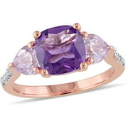 2-1/2 Carat T.G.W. Amethyst and Rose de France with Diamond-Accent Rose Rhodium-Plated Sterling Silver Three-Stone Ring