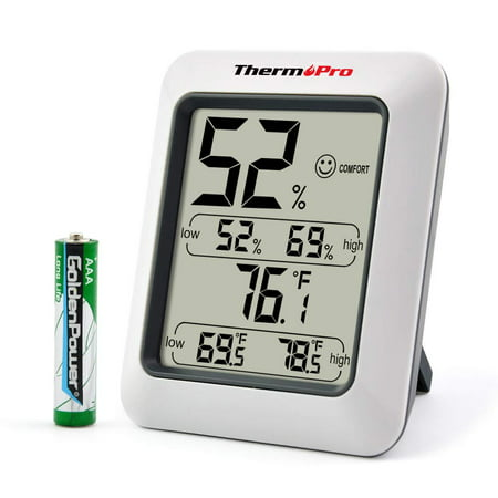 ThermoPro TP50 Indoor thermometer Humidity Monitor Weather Station with Temperature Gauge Humidity Meter