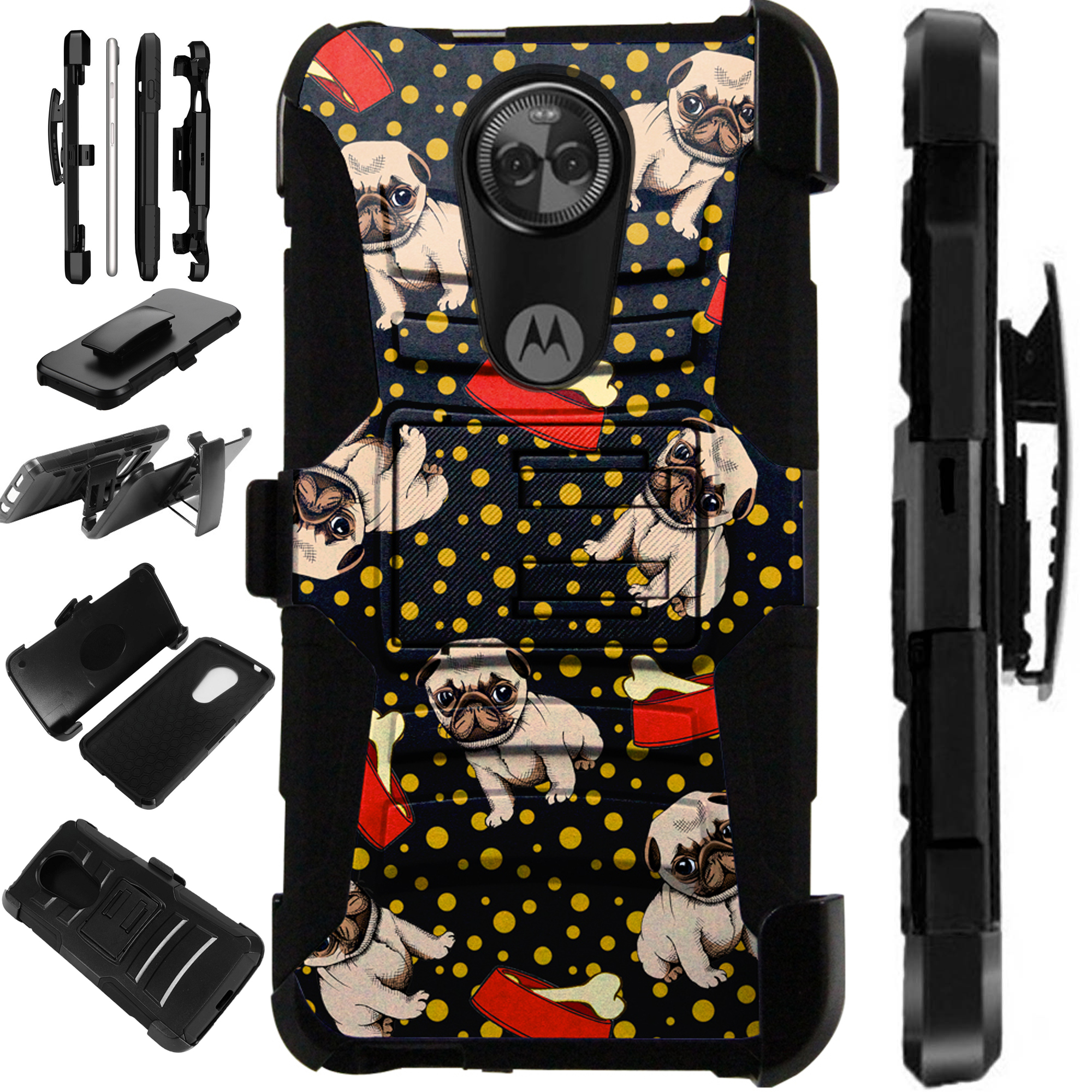 For Motorola Moto G6 Play   Moto G6 Forge Case Armor Hybrid Silicone Cover Stand LuxGuard Holster (Pug Bone)