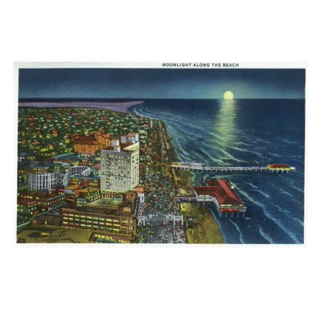 Galveston, Texas - Aerial View of the City, Seawall, and the Beach in the Moonlight, c.1947 Print Wall Art By Lantern Press