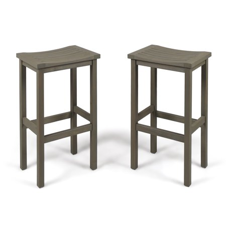 Cassie Outdoor 30 Inch Acacia Wood Barstools, Set of 2, Grey Finish 30 Inch Outdoor Freestanding Bar
