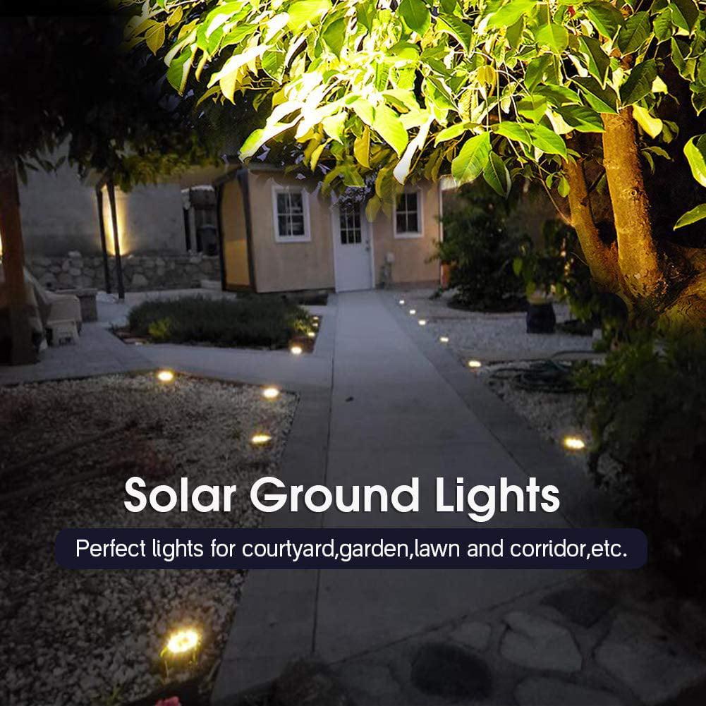 Solar Ground Lights PREKIAR 8LED 800mah Solar Pathway Lights Outdoor IP65 Waterproof Garden Landscape Lighting for Yard Deck Lawn Patio Walkway-Warm White 4 Pack