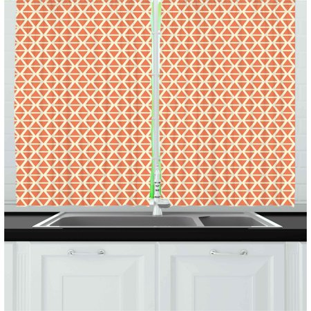 Orange Curtains 2 Panels Set, Groovy Soft Toned Vintage Stylized Geometric Triangles Skewed Squares Tile Pattern, Window Drapes for Living Room Bedroom, 55W X 39L Inches, Orange Cream, by (Basketweave Tile Pattern)