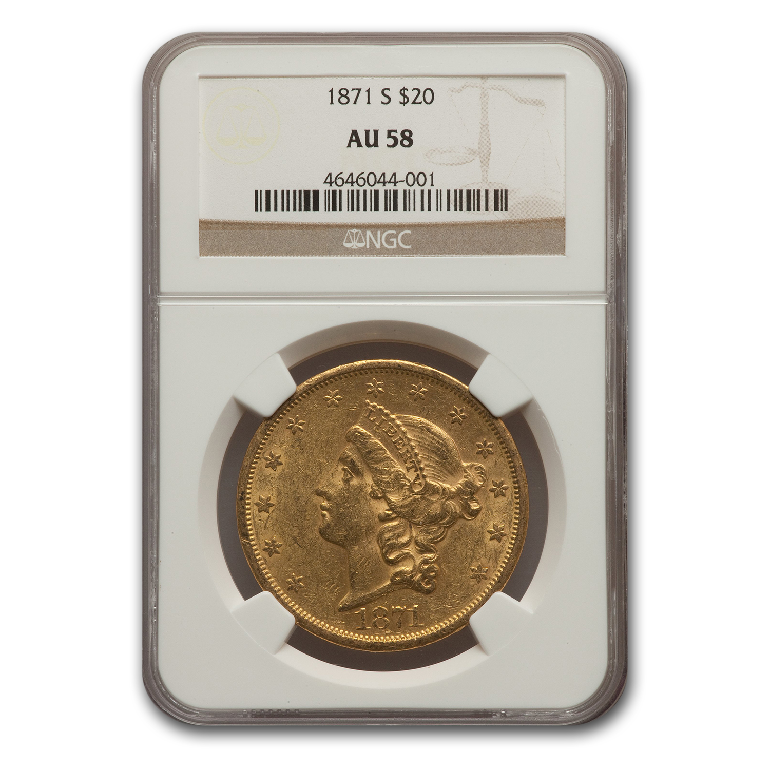 1871-S $20 Liberty Gold Double Eagle AU-58 NGC