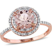 1-1/6 Carat T.G.W Morganite and 1/10 T.W. Diamond 10kt Rose Gold Double Halo Ring